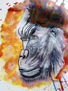 Gorille au regard d'homme  Aquarelle-gouache sur papier