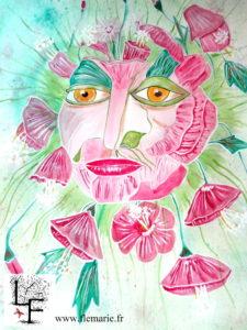 Hibiscus  Aquarelle sur papier A2 300g/m2