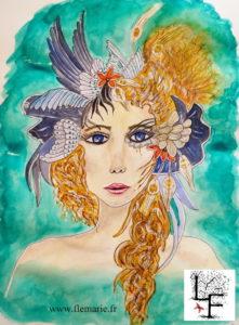 Jeune femme à la coiffe ailée  Aquarelle sur papier