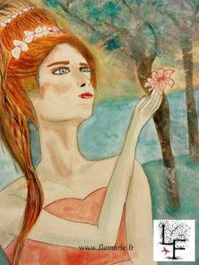 Jeune fille à la fleur  Aquarelle sur papier