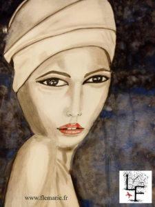 Jeune fille au foulard  Aquarelle sur papier