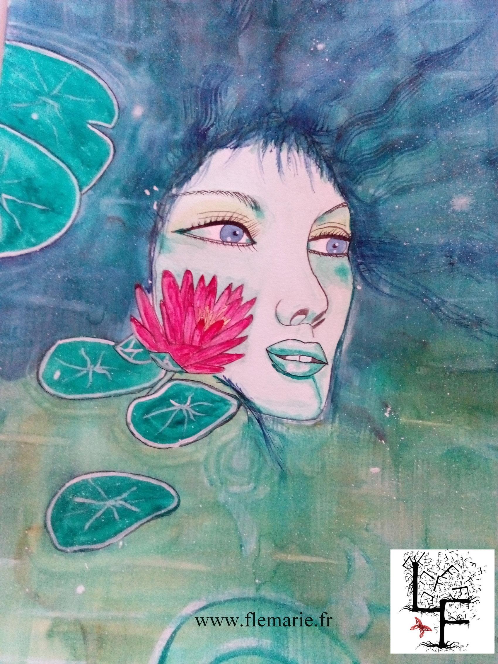 Jeune femme aux nénuphars  Aquarelle sur papier