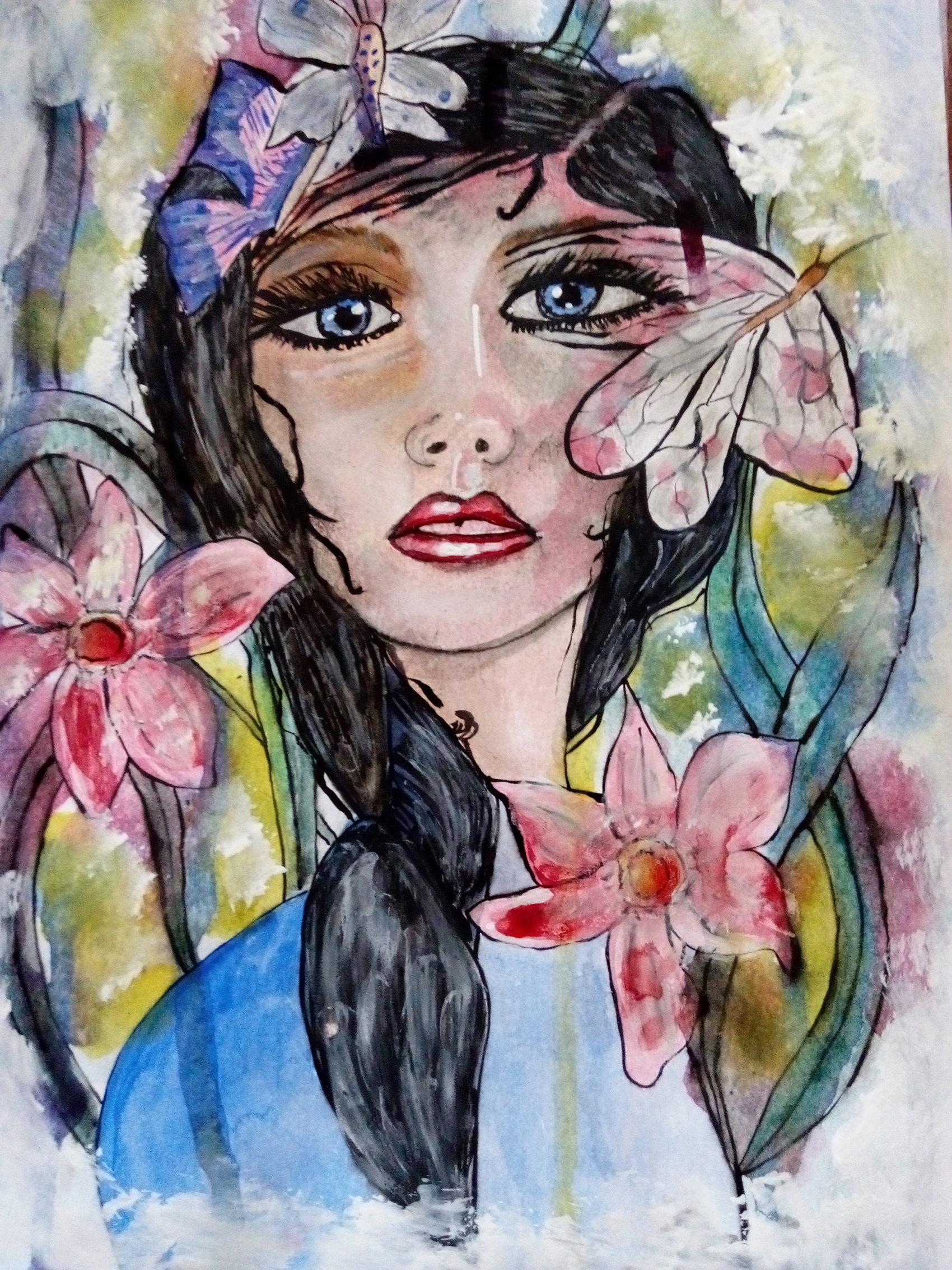 Jeune fille aux papillons  Aquarelle sur papier