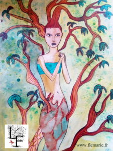 Jeune fille aux racines  Aquarelle sur papier