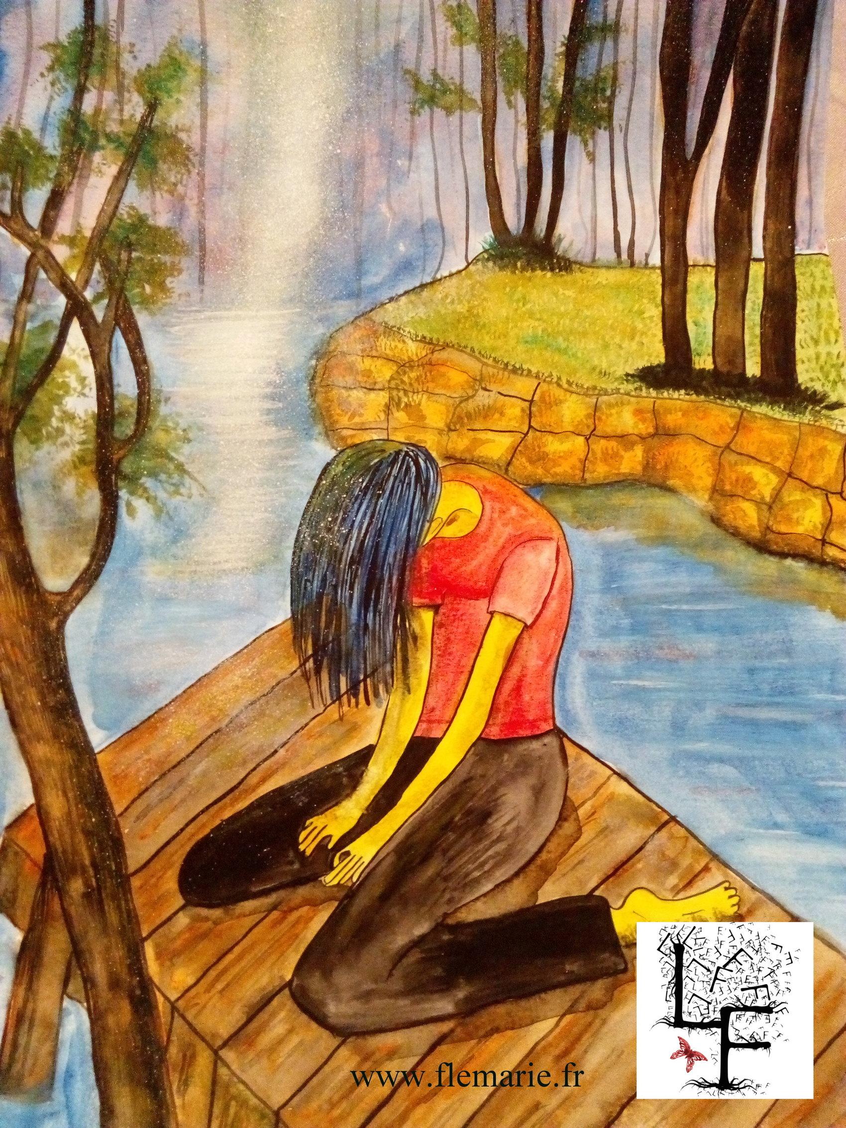 Jeune fille en détresse  Aquarelle sur papier