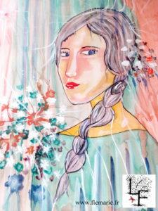 Jeune fille et bouquet  Aquarelle sur papier A2 300g/m2