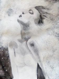 Jeune fille et brouillard  Acrylique sur papier
