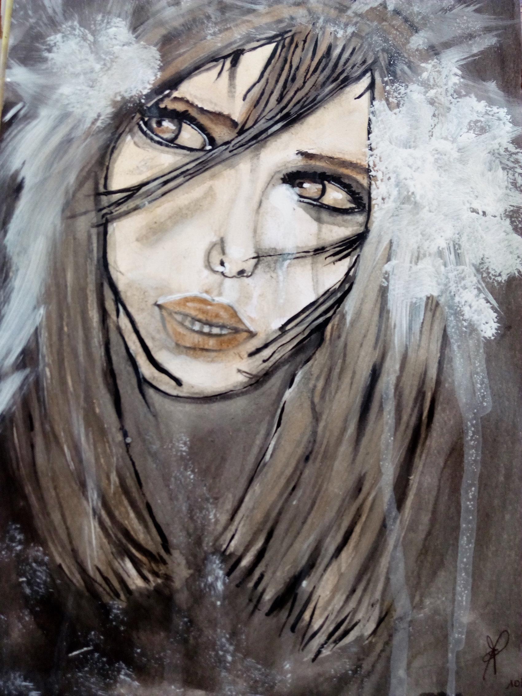 Jeune fille pensive  Acrylique sur papier