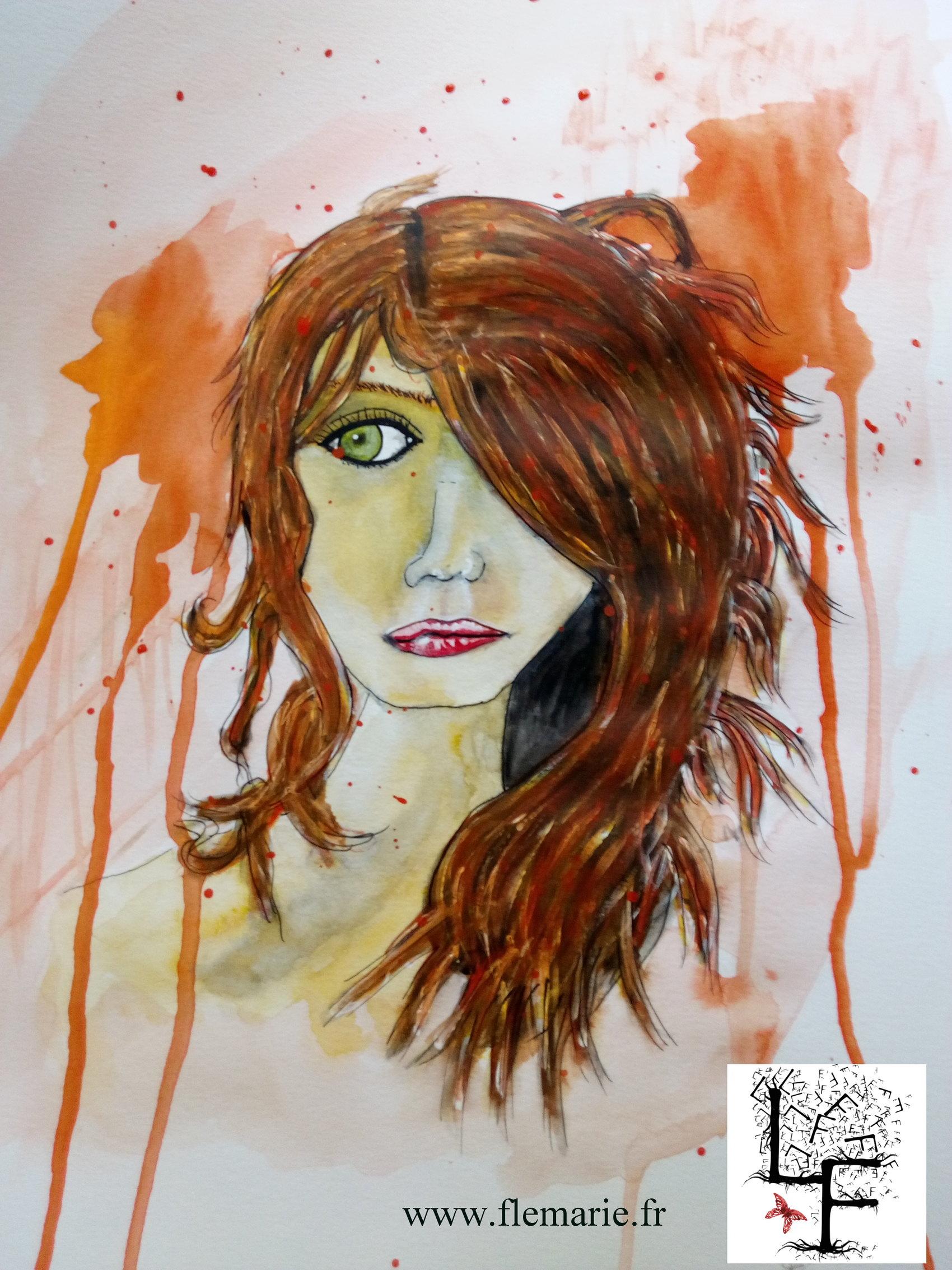 Jeune fille rousse  Aquarelle sur papier