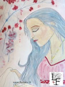 Jeune fille triste  Aquarelle sur papier