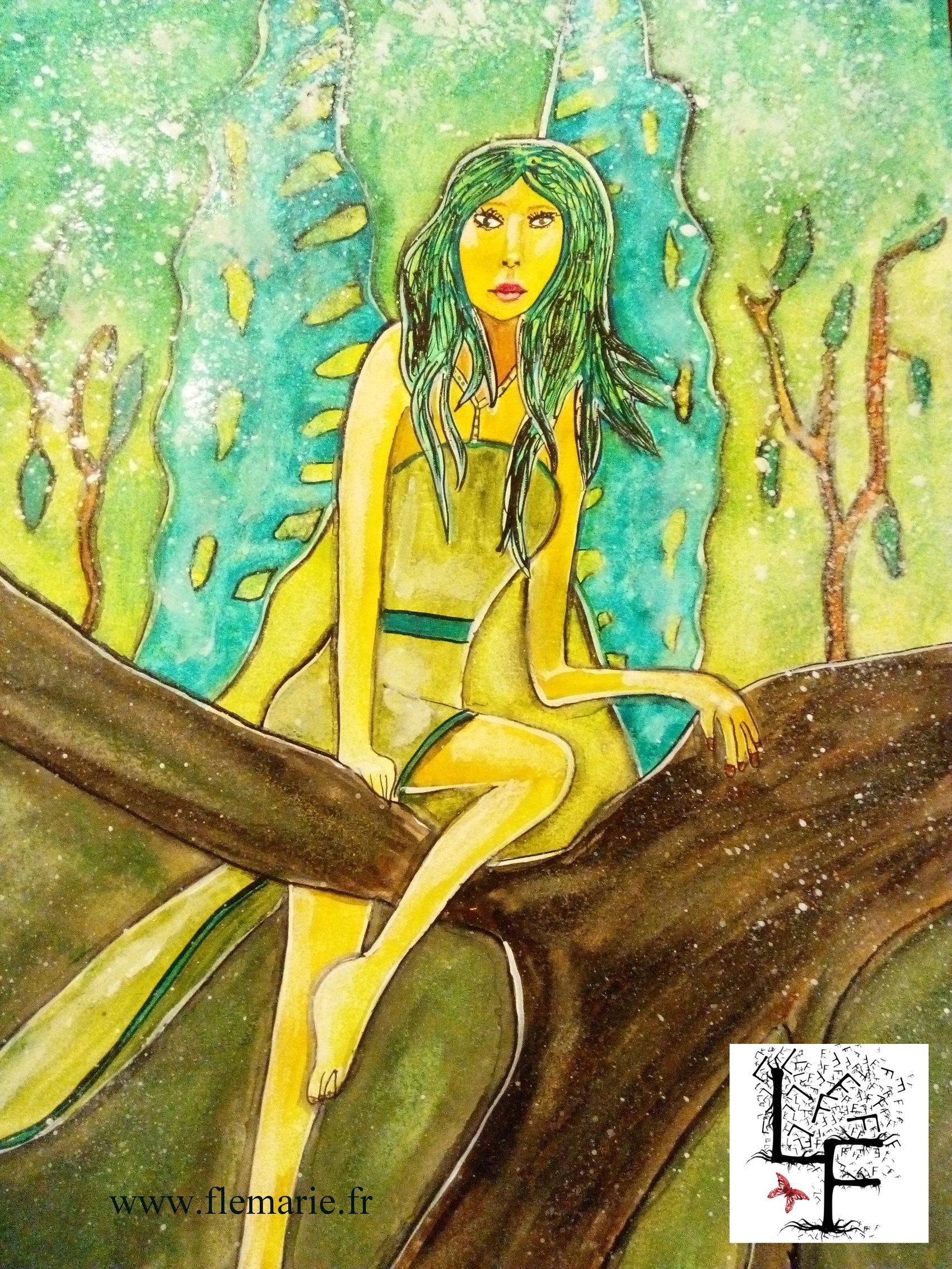 La femme papillon  Aquarelle sur papier
