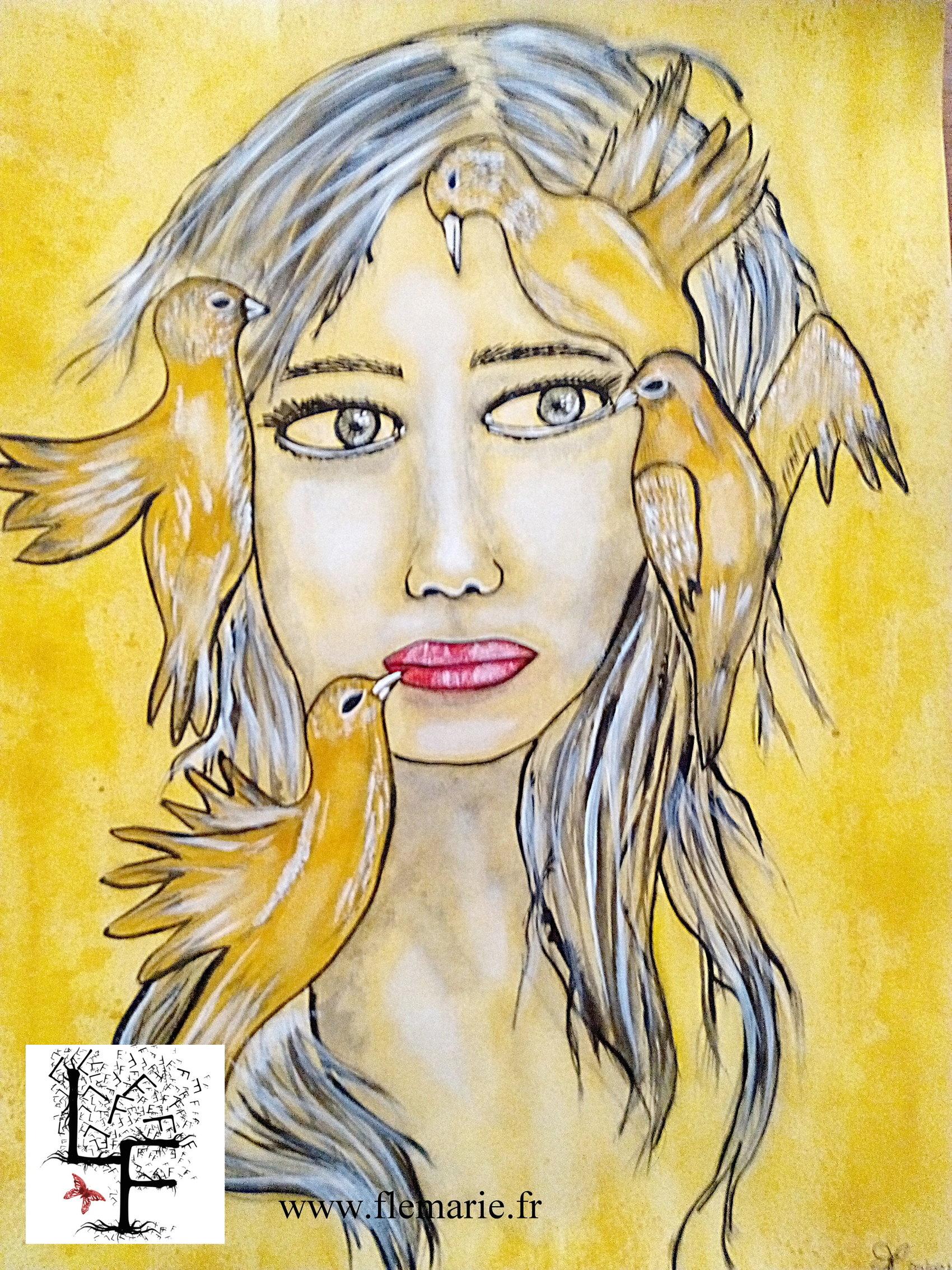 La fille aux oiseaux  Aquarelle sur papier A3 300g/m2