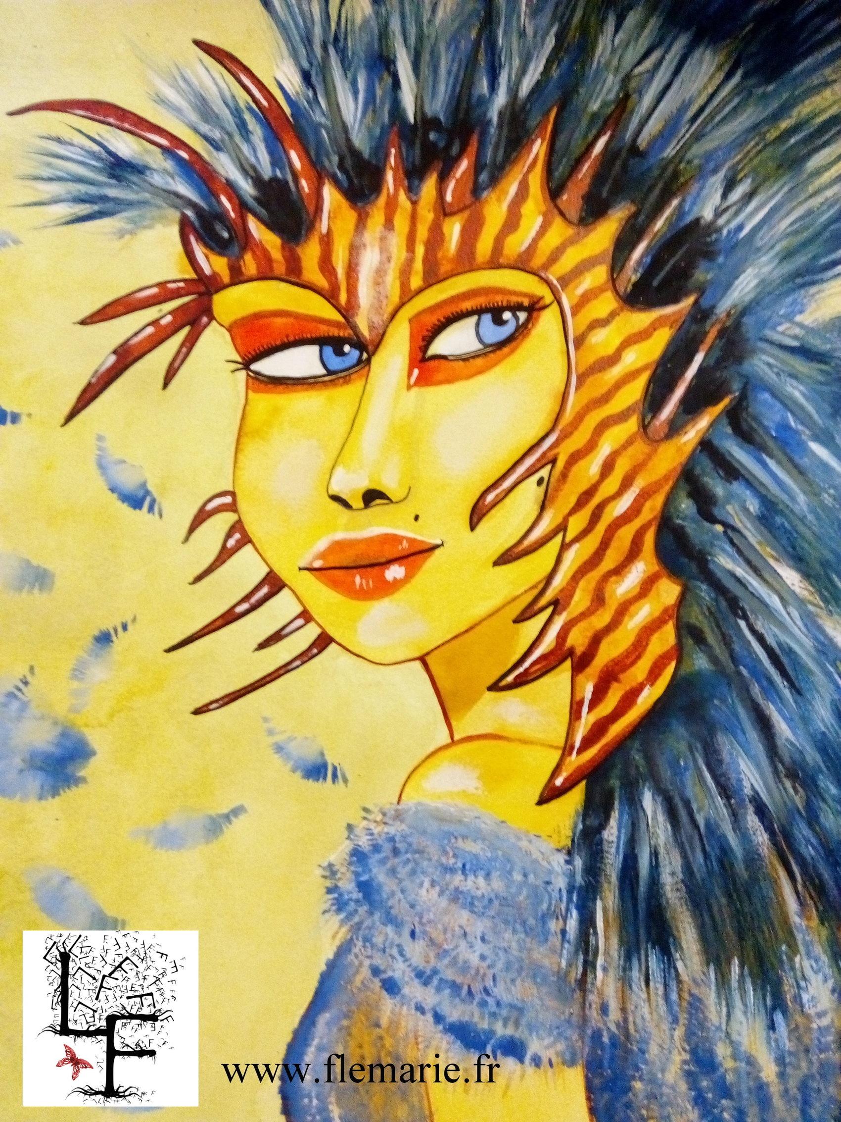 La fille aux plumes  Aquarelle sur papier A3 300 mg