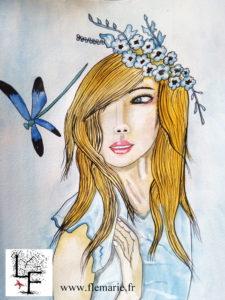La jeune fille et la libellule  Aquarelle sur papier