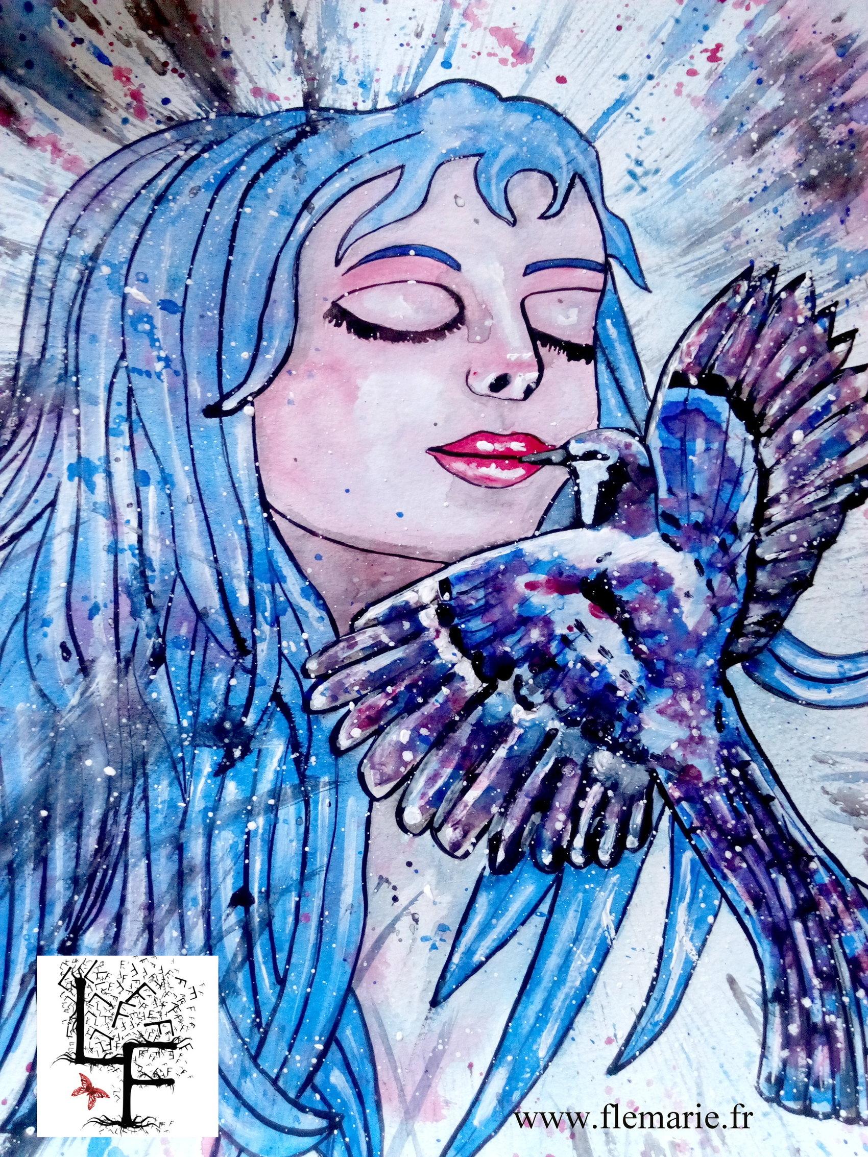 Le baiser  Aquarelle sur papier