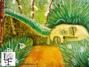 Le sommeil de Dame Nature  Aquarelle sur papier A3 300g/m2