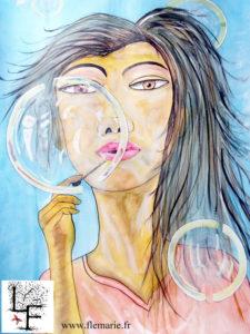 Les bulles  Aquarelle sur papier A2 300g/m2