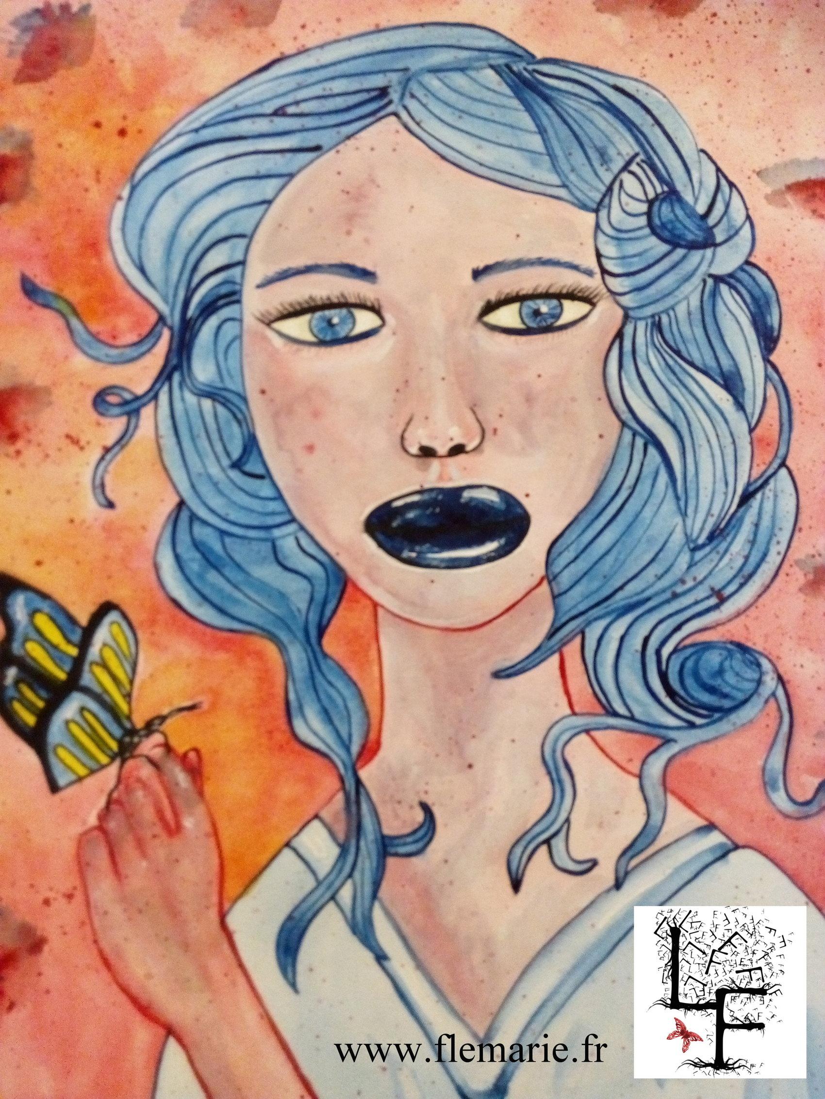 Les cheveux bleus  Aquarelle sur papier