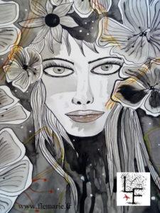 Les fleurs  Aquarelle sur papier