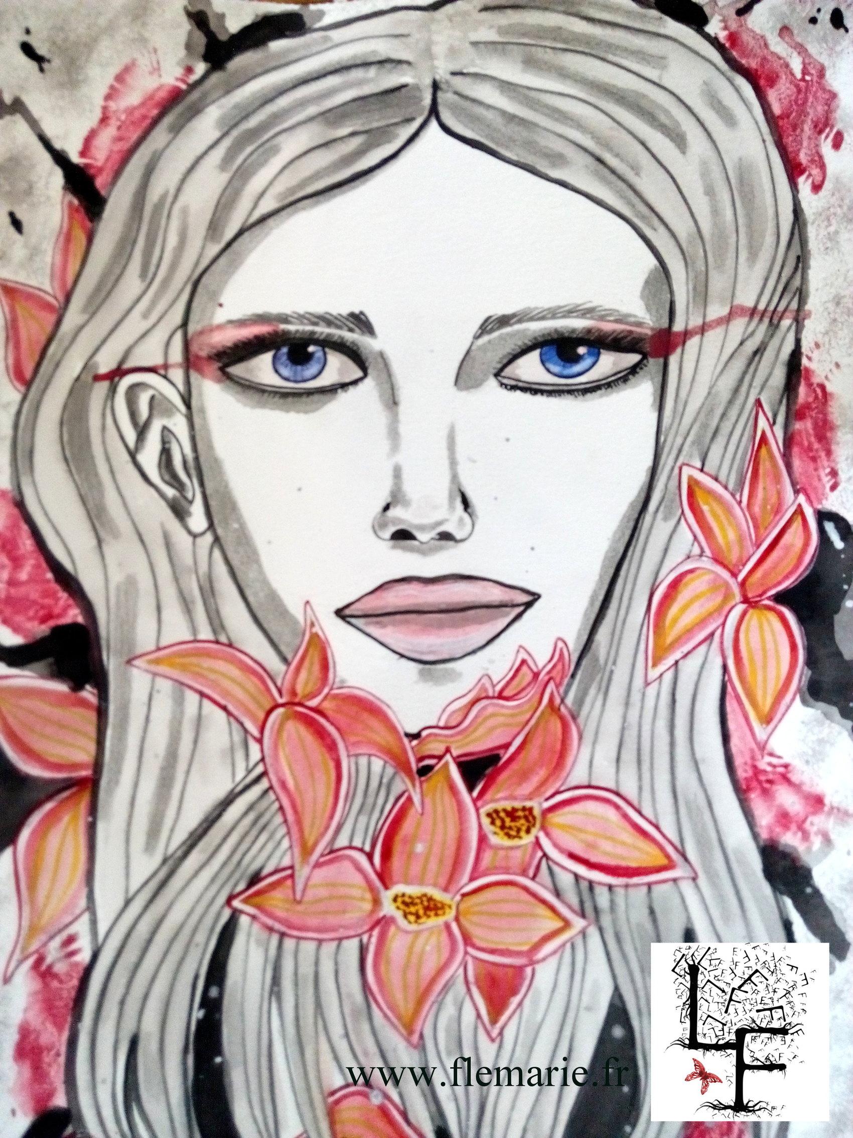 Les yeux bleus  Aquarelle sur papier