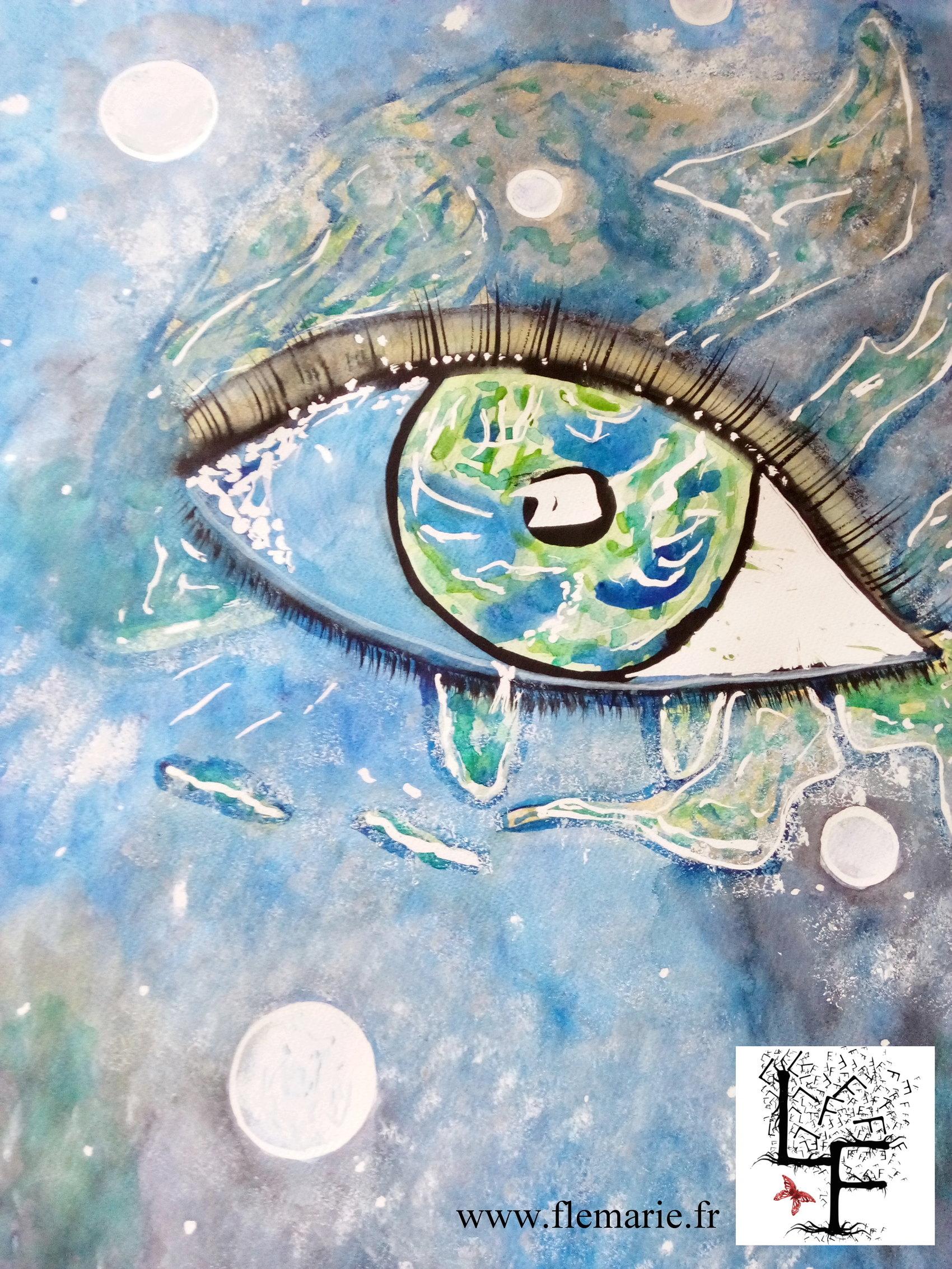 L'oeil de la Terre  Aquarelle sur papier A2 300g/m2