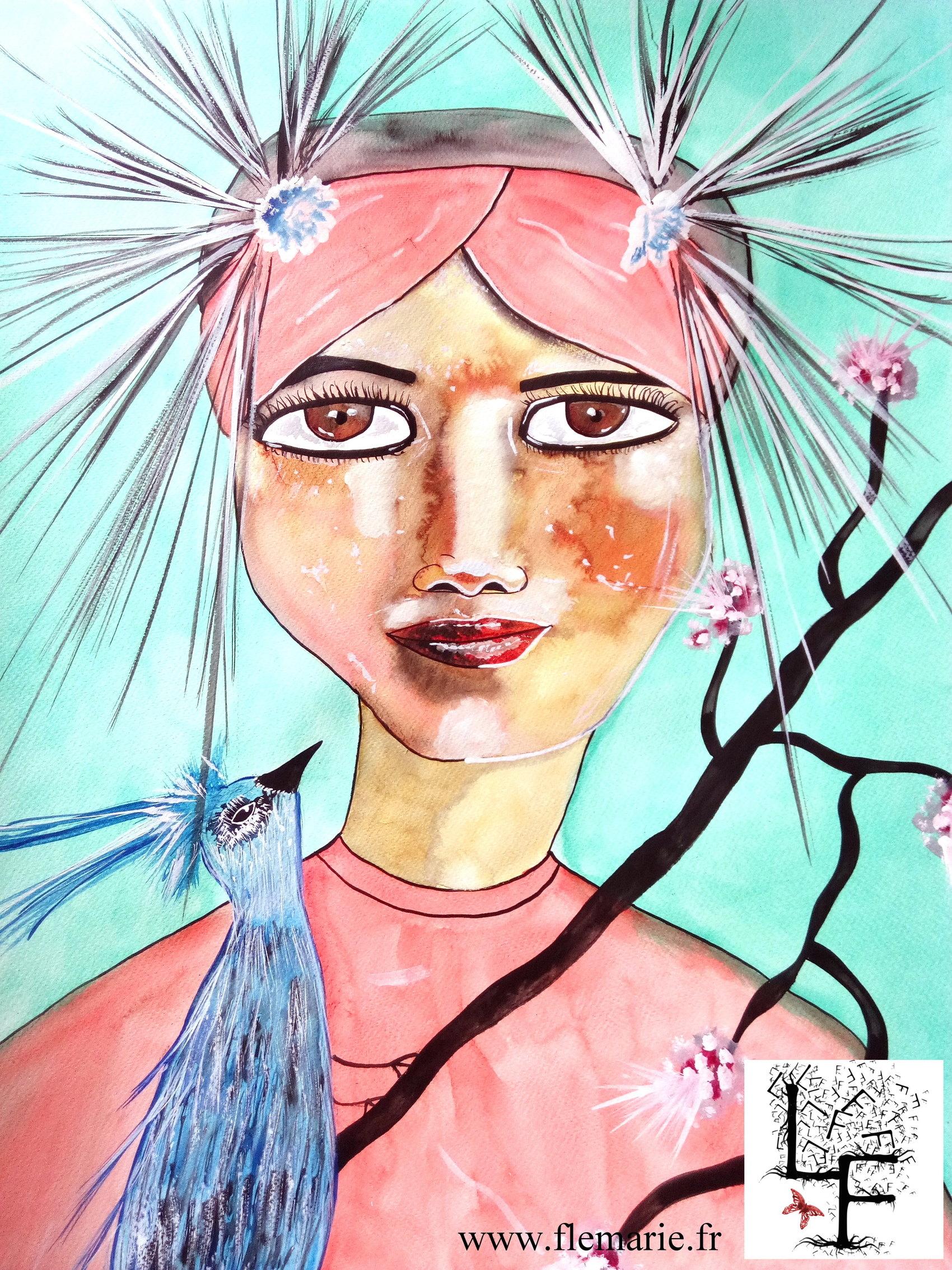 L'oiseau bleu  Aquarelle sur papier A2 300g/m2
