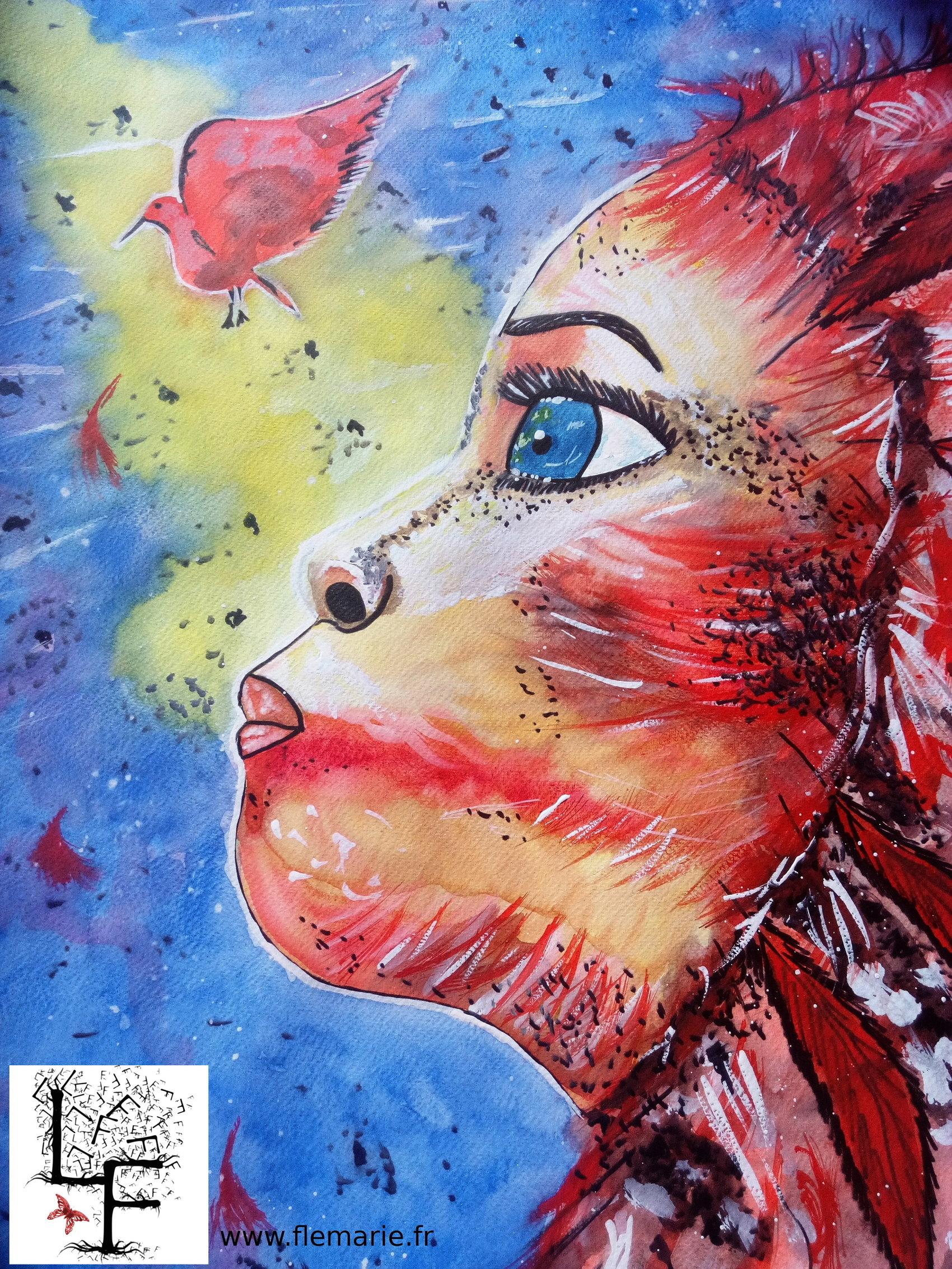 L'oiseau rouge  Aquarelle sur papier A2 300g/m2