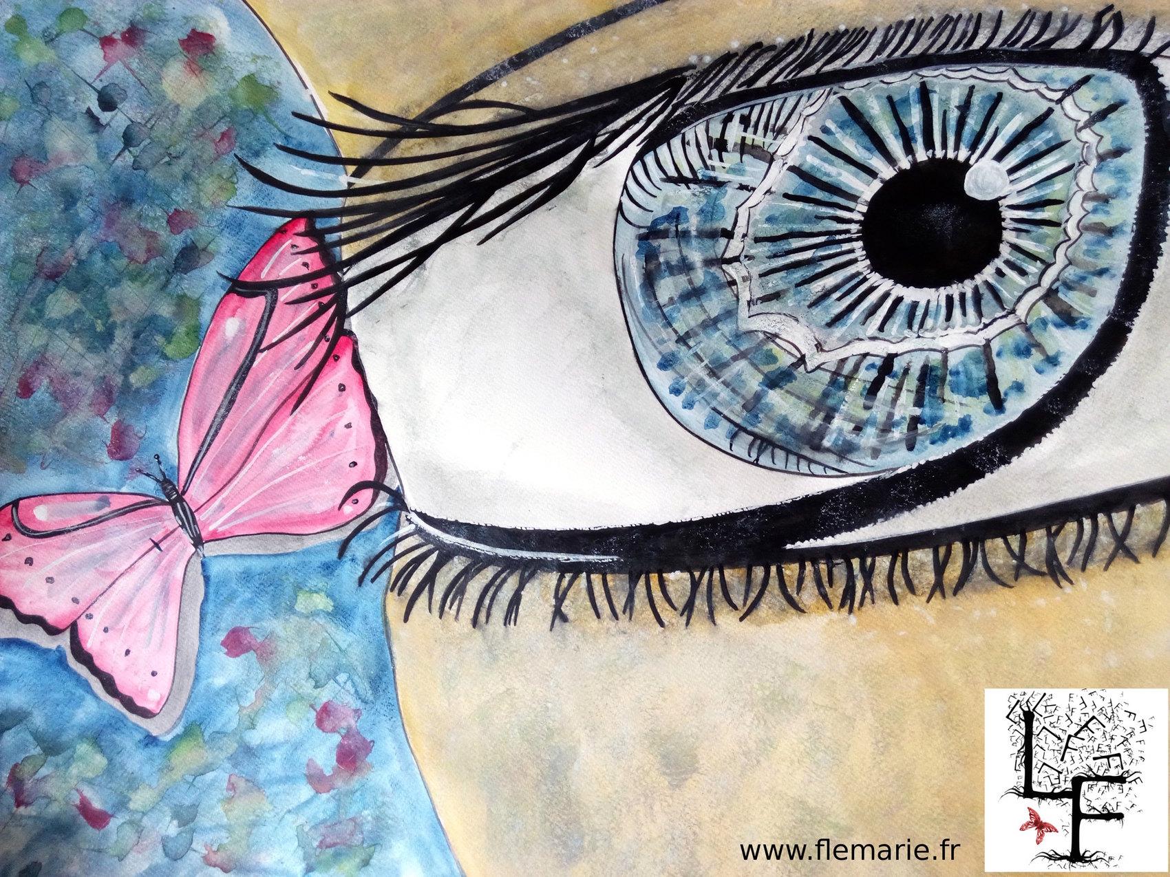 Oeil attentif  Aquarelle sur papier A2 300g/m2