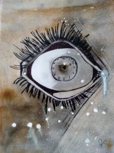 Oeil horloge  Acrylique
