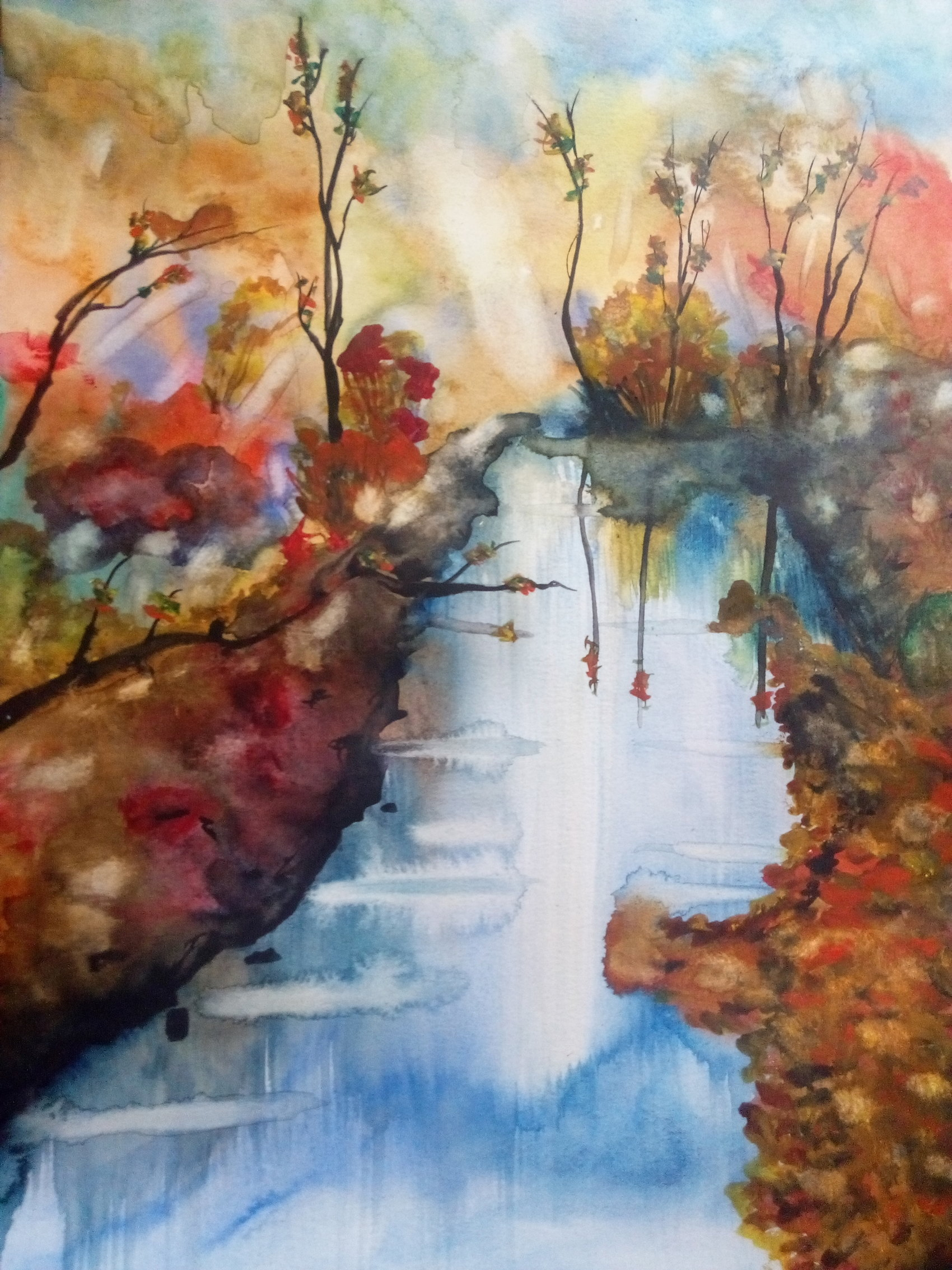Paysage d'automne  Aquarelle sur papier