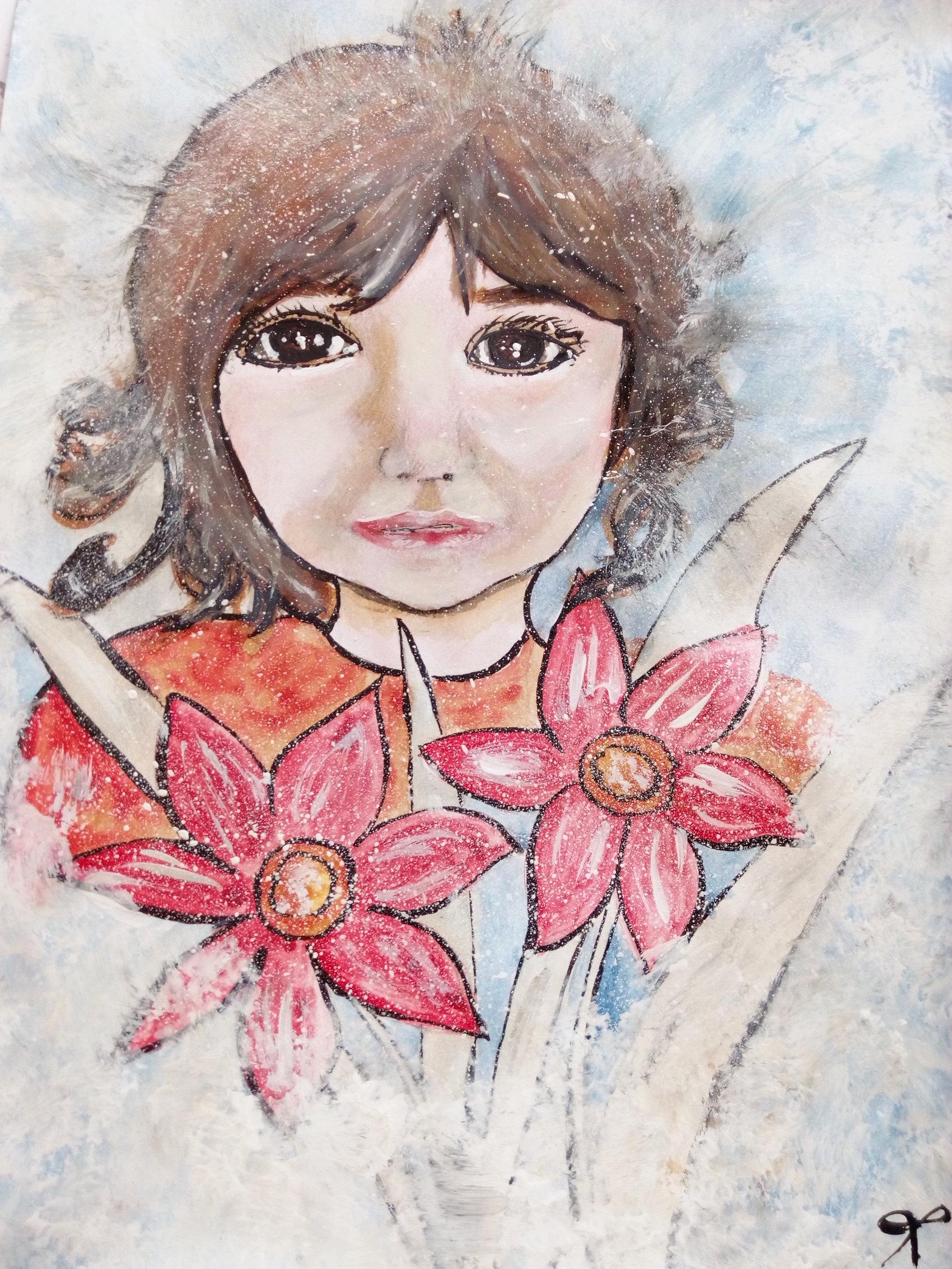 Petite fille aux fleurs  Aquarelle sur papier