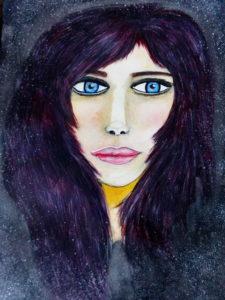 Portrait de femme  Aquarelle sur papier