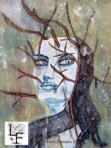 Portrait femme cerf  Aquarelle sur papier
