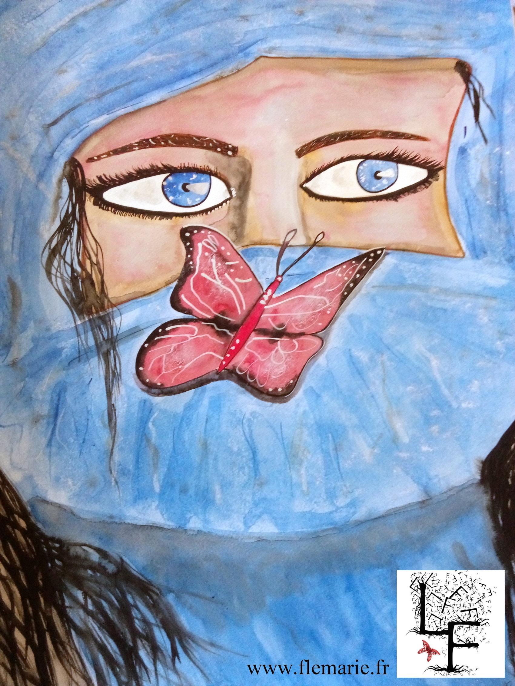 Quand le papillon se pose  Aquarelle sur papier A2 300g/m2