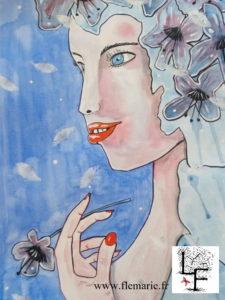 Rêve bleu  Aquarelle sur papier