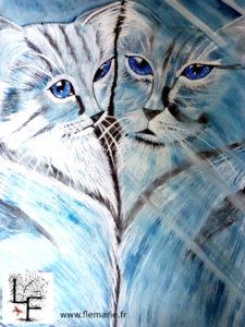 Reflet de chat  Aquarelle sur papier A2 300g/m2