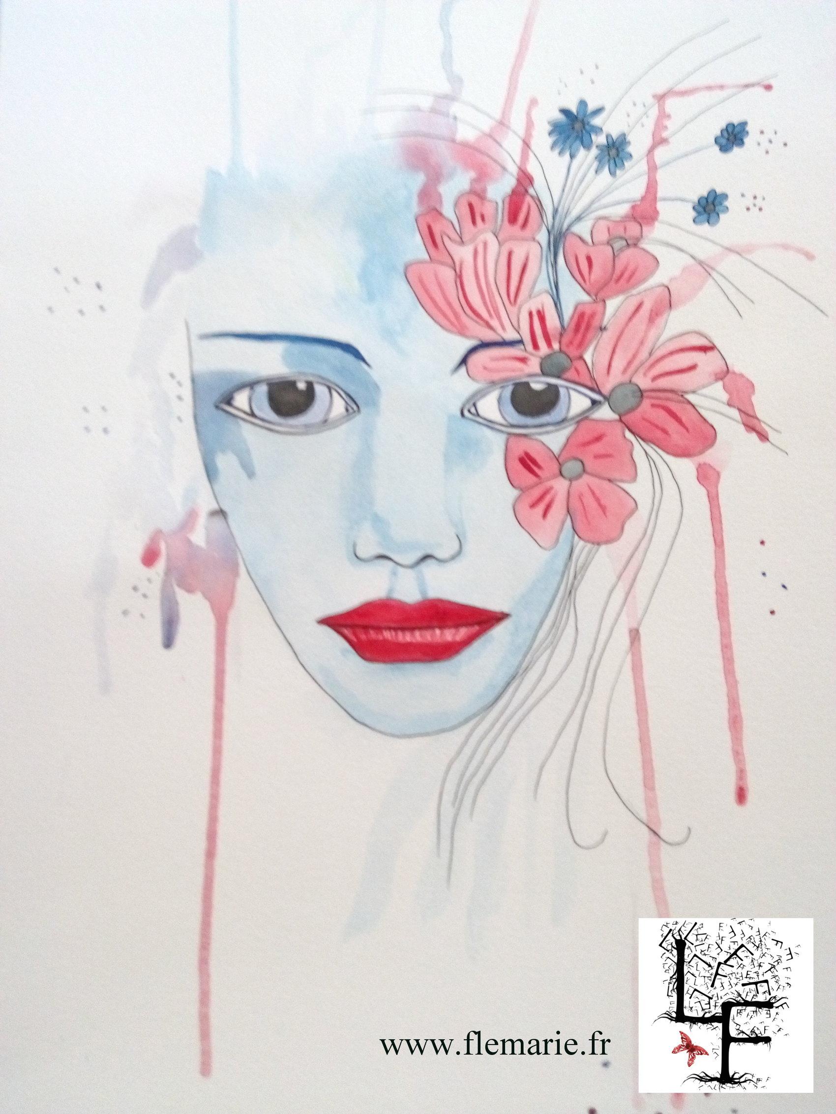 Regard fleuri  Aquarelle sur papier