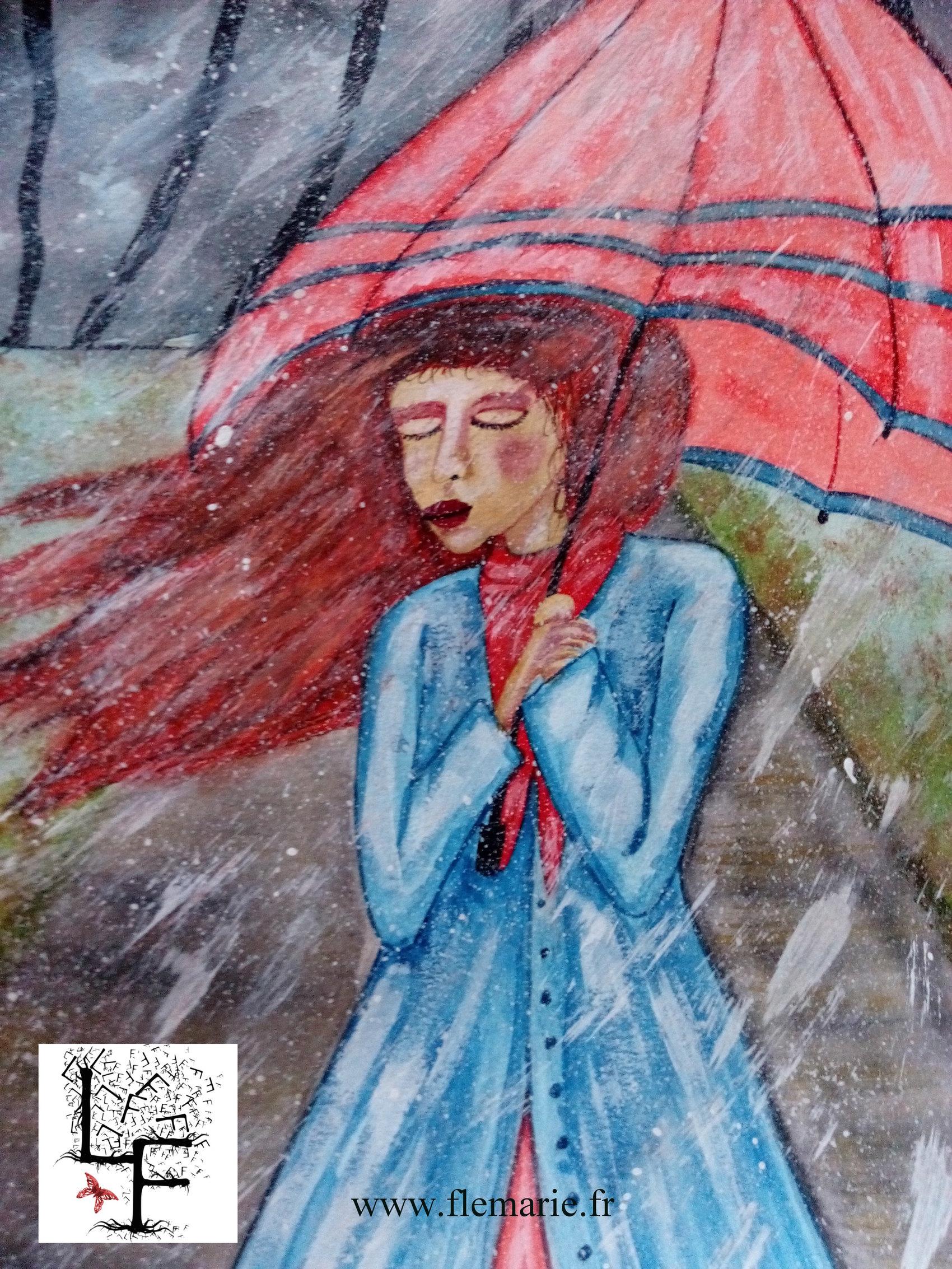 Sous la pluie  Aquarelle sur papier