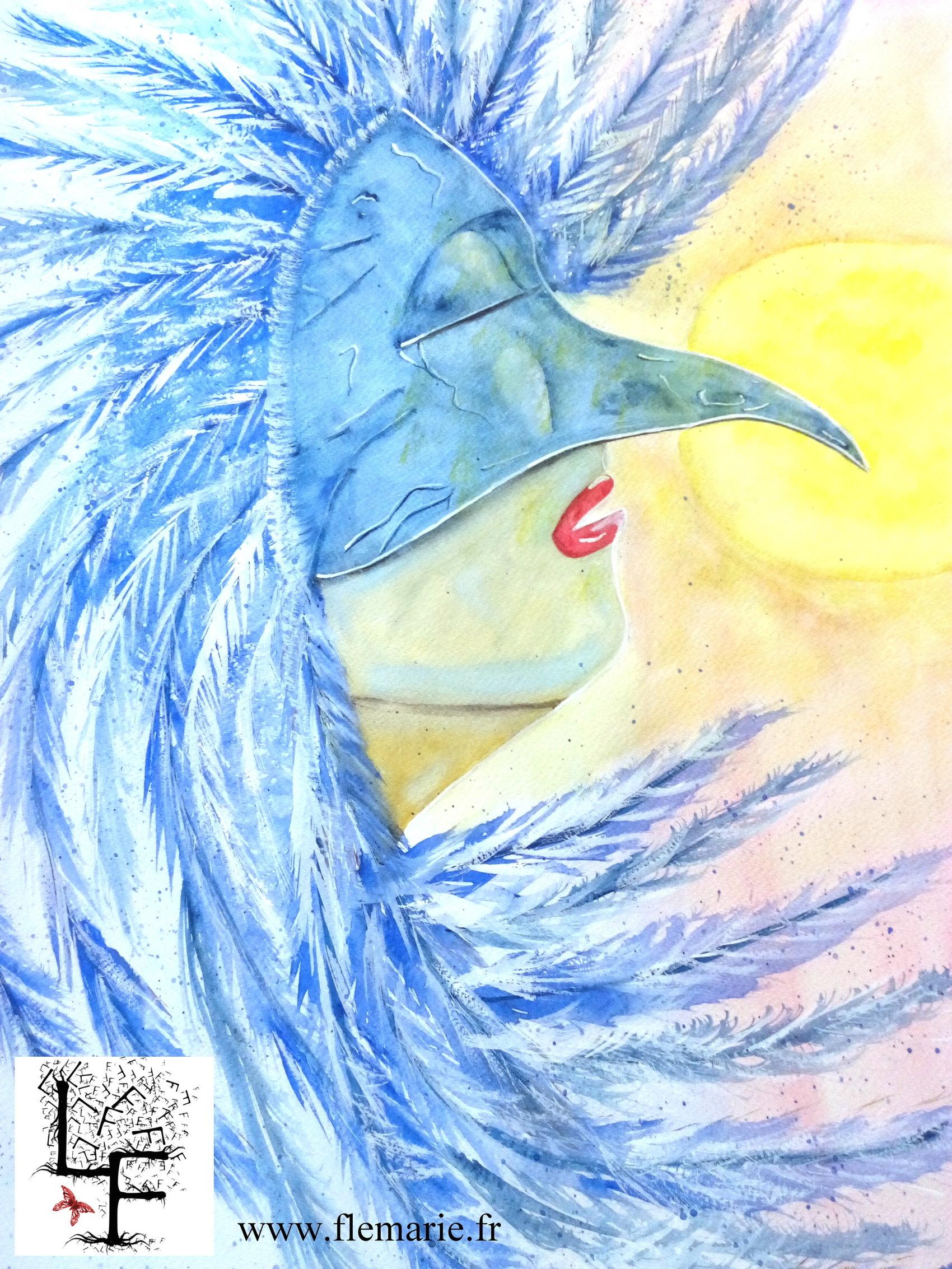 Sous le masque de l'oiseau  Aquarelle sur papier A2 300g/m2