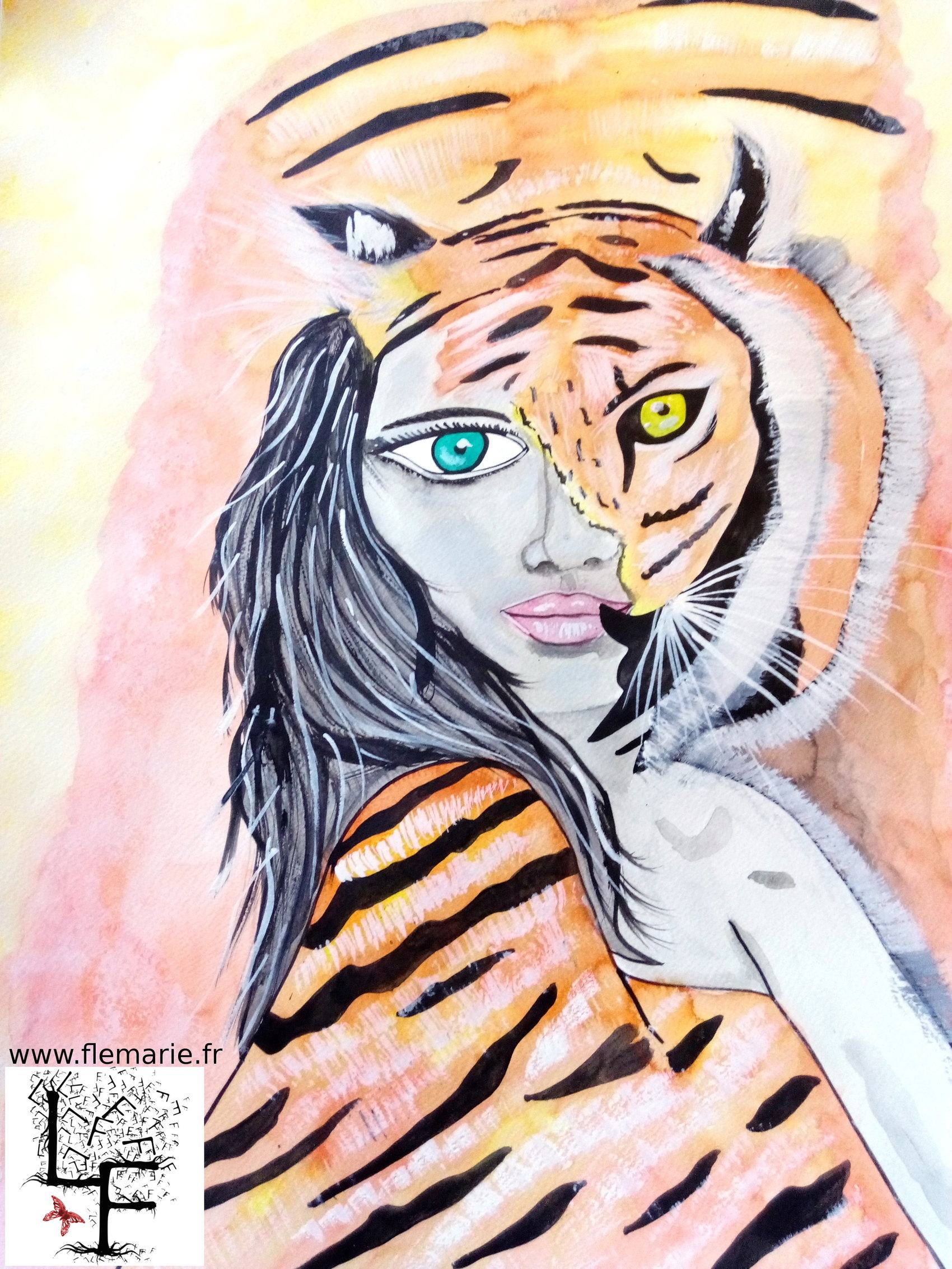Tigresse  Aquarelle sur papier A2 300g/m2