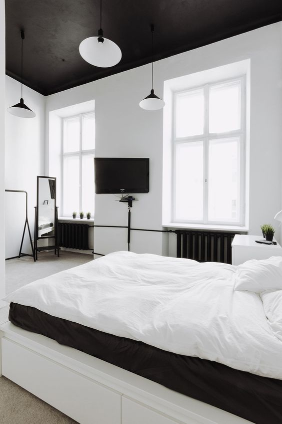 des chambres en noir et blanc floriane lemari. Black Bedroom Furniture Sets. Home Design Ideas