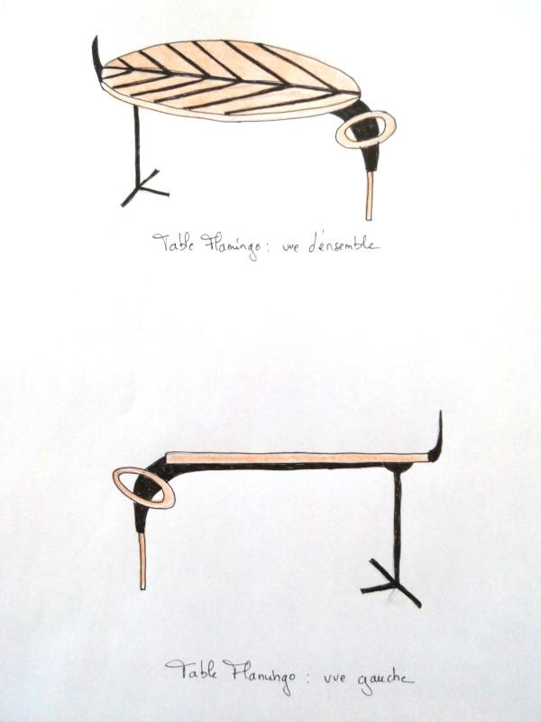 Création table basse Flamingo par Floriane Lemarié