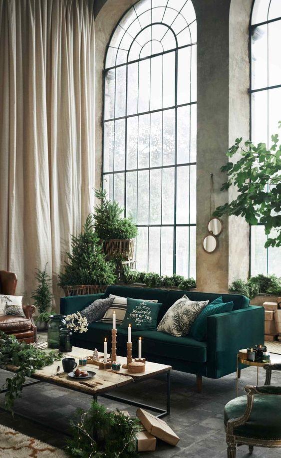 Décoration salon vert